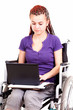 Young woman on wheelchair, white background