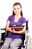 teen woman on wheelchair, white background