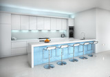 Contemporary minimal blue and white kitchen