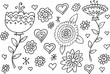 Doodle Summer Flowers Illustration Vector Set