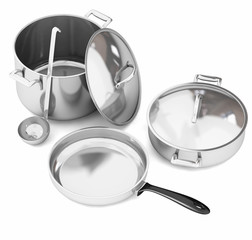 Steel cookware isolated on white