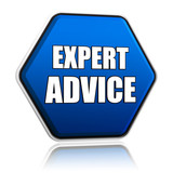 expert advice in blue hexagon
