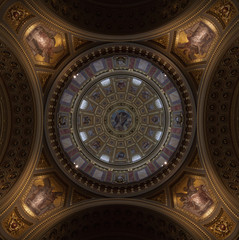 Dome in the St. Stephen's Basilica in Budapest, Hungary.
