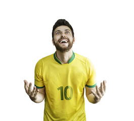 Brazilian soccer player celebrates isolated on white background