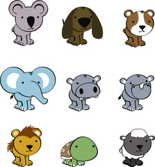 sweet baby animals cartoon cute vector set