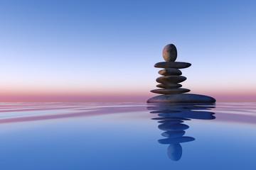 stacked stones lake