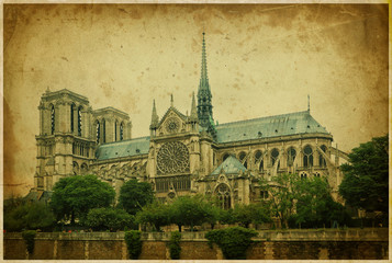 Notre dame cathedral, Paris. Retro styled photo