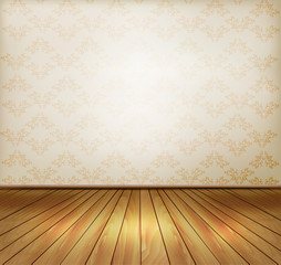 Background with old wall and a wooden floor. Vector.