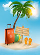 Vacation background. Beach with palm tree, suitcase and flip flo