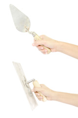 set of hand holding construction lute trowel tool isolated