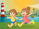 Two adorable kids running with butterflies