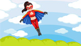 A female superhero in the sky
