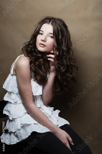young woman with white dress