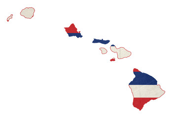 Grunge state of Hawaii flag map
