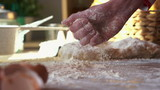Throwing whire flour on table, super slow motion, shot at 120fps