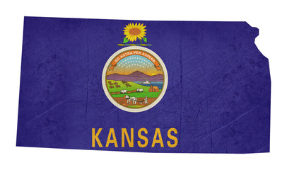 Grunge state of Kansas flag map