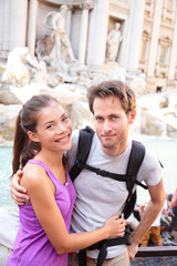Happy couple portrait, Trevi Fountain, Rome, Italy