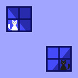 Cute Black And White Cats Behind A Curtain In The Window