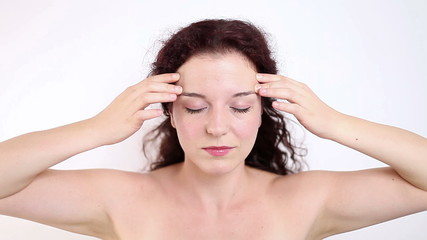 Woman having headache, migraine