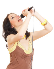 woman singing isolated on white background.