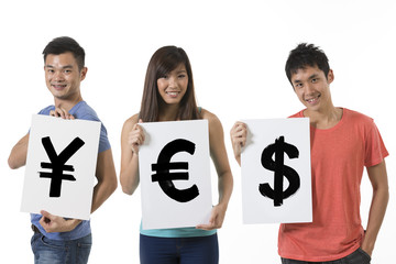 Chinese people holding banners with currency symbols