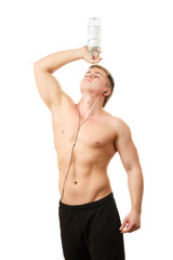 Healthy young man with water bottle isolated on white background