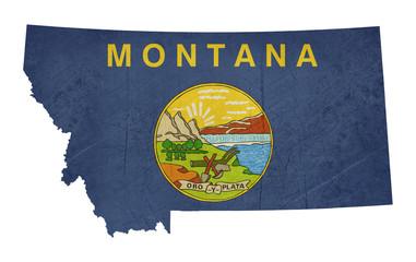 Grunge state of Montana flag map