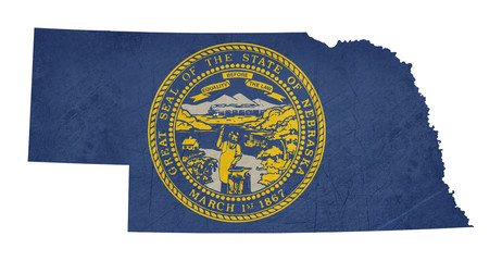 Grunge state of Nebraska flag map