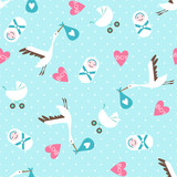 Seamless baby shower pattern on blue background