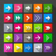 25 arrows icons, signs. Long shadow style.