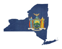 Papier Peint - Grunge state of New York flag map