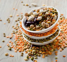 Beans and lentil on a wooden table