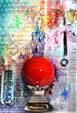 Graffiti background with red crystal ball