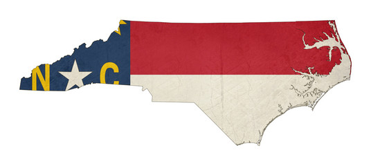 Grunge state of North Carolina flag map