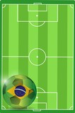 field and brazil soccer ball illustration