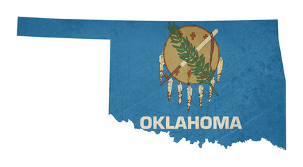 Grunge state of Oklahoma flag map