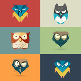 Set cute stylized cartoon icons of owls