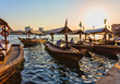 Leinwanddruck Bild -  Boats on the Bay Creek in Dubai, UAE