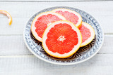 grapefruit slices on a plate