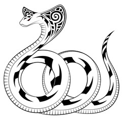 Snake, Cobra in the form of a tribal tattoo