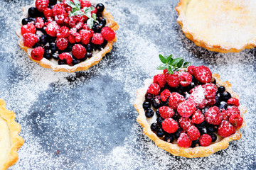 homemade tartlets with berries