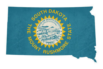Grunge state of South Dakota flag map