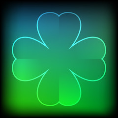 Abstract green neon clover