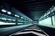 Empty tunnel at night