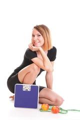 Portrait young healthy woman dieting concept