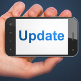 SEO web development concept: Update on smartphone