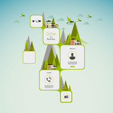 Flat Green Abstract Web Design / Eco Flat Style Infographics.