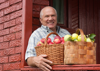 man with   basket of apples