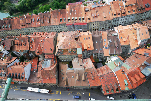 Old city of Fribourg from above.
