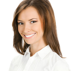 Portrait of happy smiling cheerful young business woman